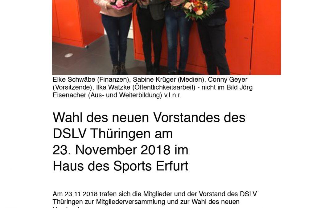 Vorstand des DSLV Thüringen neu gewählt (26.11.2018)