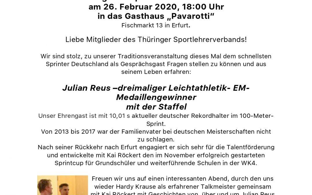 Einladung zum Sportlehreraschermittwoch am 26.02.2020 (06.02.2020)