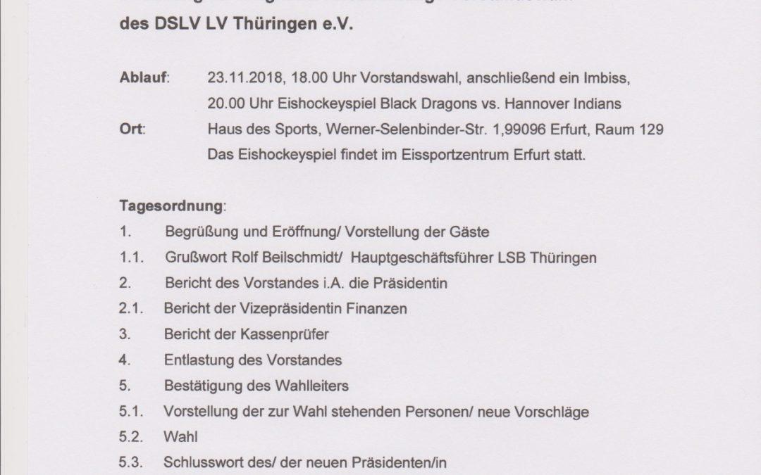 Einladung zur Mitgliederversammlung und Wahl des Vorstandes des DSLV Thüringen (28.10.2018 )