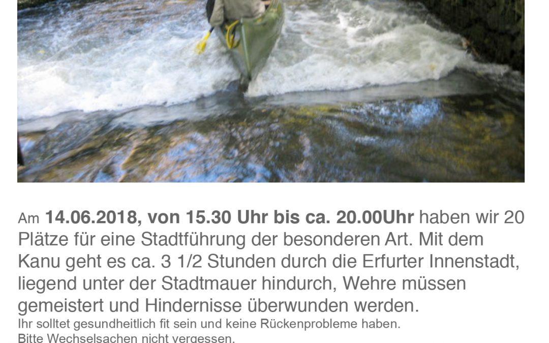 MITGLIEDERVERANSTALTUNG 2. Sommer-Event Kanu-Tour Erfurt (22.05.2018 )